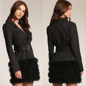 COCO Feather Trimmed Blazer Dress